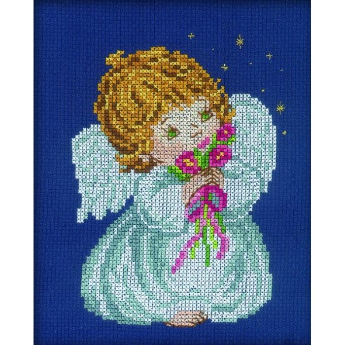 Набор для вышивания РТО арт.C038 Ангел с цветами 13х16 см