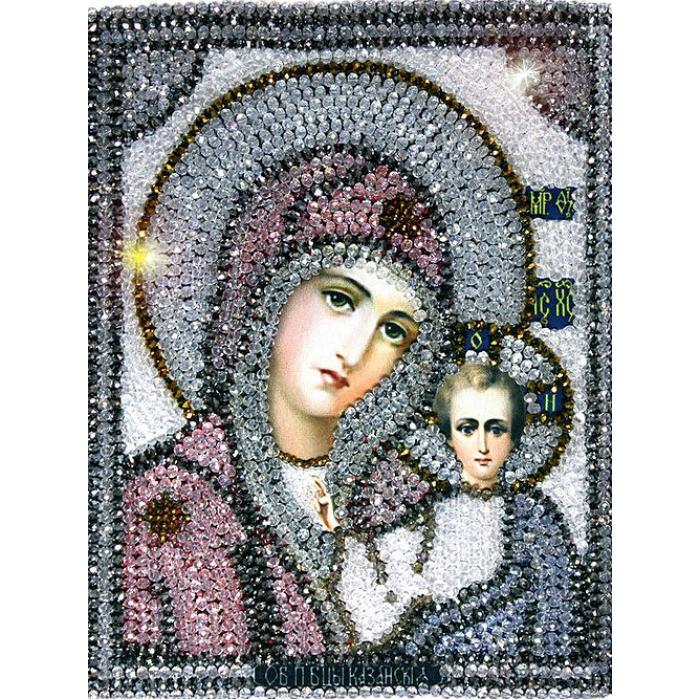 Набор для вышивания хрустальными бусинами ОБРАЗА В КАМЕНЬЯХ арт. 7701 Казанская Божия Матерь 18х23,4 см