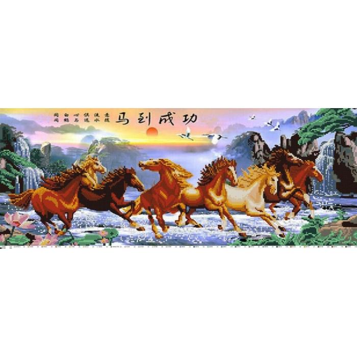 Рисунок на ткани (Бисер) КОНЁК арт. 1220 Табун 25х65 см