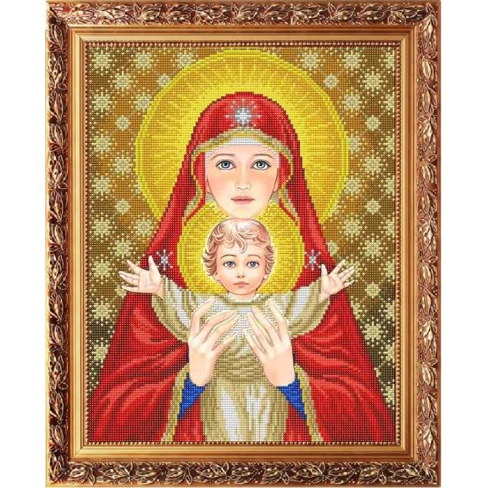Рисунок на габардине СЛАВЯНОЧКА арт. ААМА-3002 Богородица с младенцем в красном 28х38 см