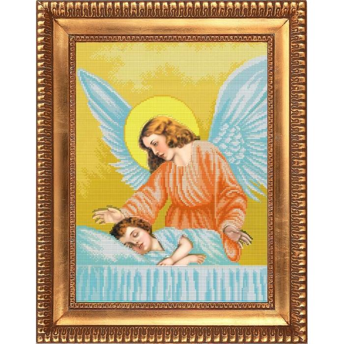 Набор для вышивания бисером СЛАВЯНОЧКА арт. НК-3055 Ангел Хранитель 28х38 см