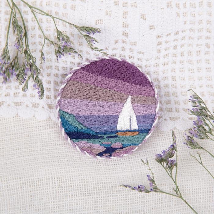 """Набор для вышивания PANNA """"Живая картина"""" арт. JK-2148 Брошь. Морской закат 5,5х5,5 см"""