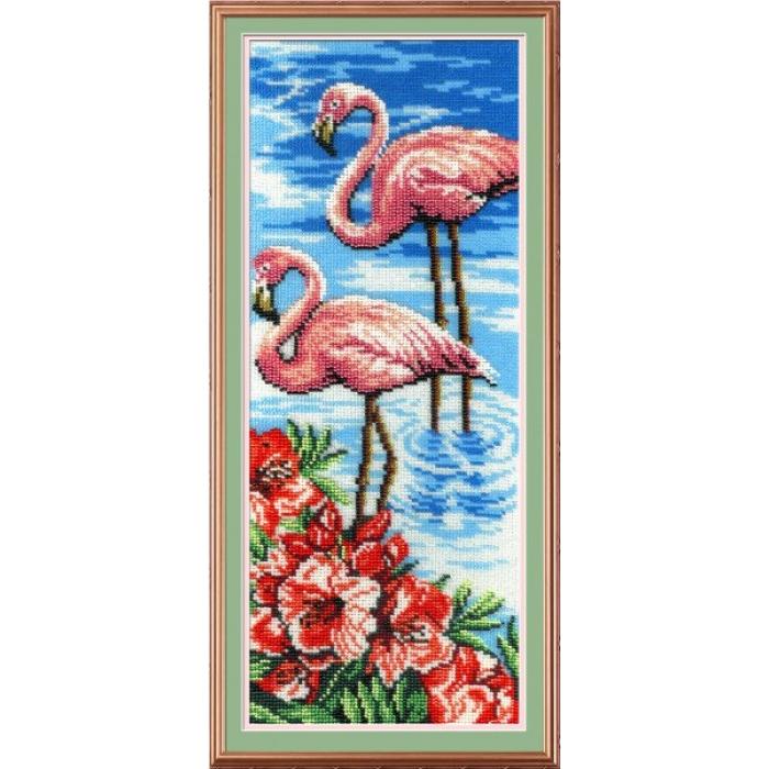 Набор для вышивания габардин+бисер МП СТУДИЯ арт.БГ-181 Фламинго 40х15 см