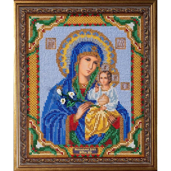 Набор для вышивания бисером КРОШЕ арт. В-171 Богородица Неувядаемый Цвет 20x24 см