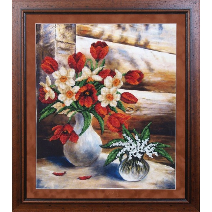 Набор для вышивания бисером МАГИЯ КАНВЫ арт.Б070 Майские цветы 34х42 см