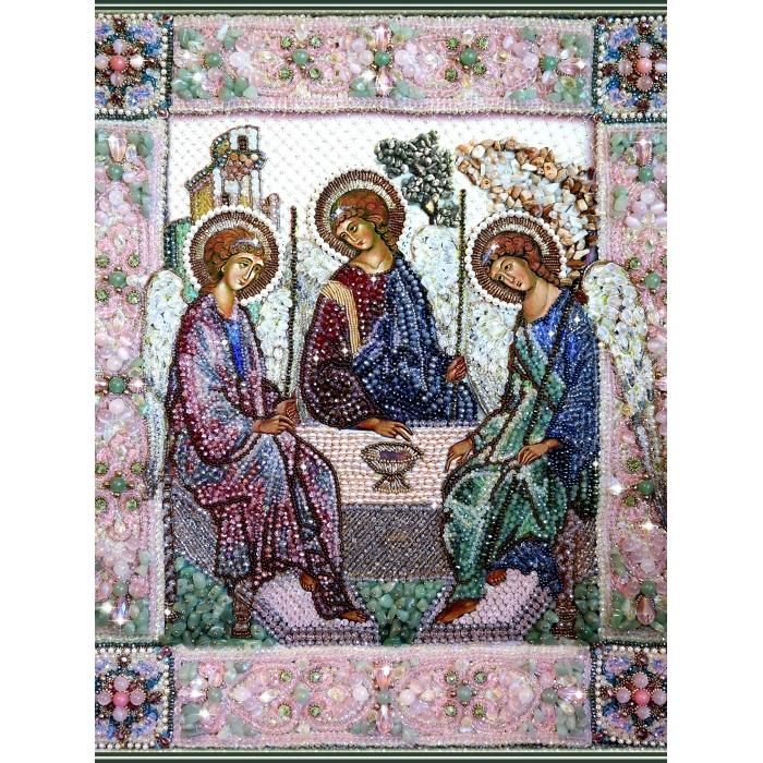 Набор для вышивания хрустальными бусинами ОБРАЗА В КАМЕНЬЯХ арт. 7741 Святая Троица 41,5х34,5 см