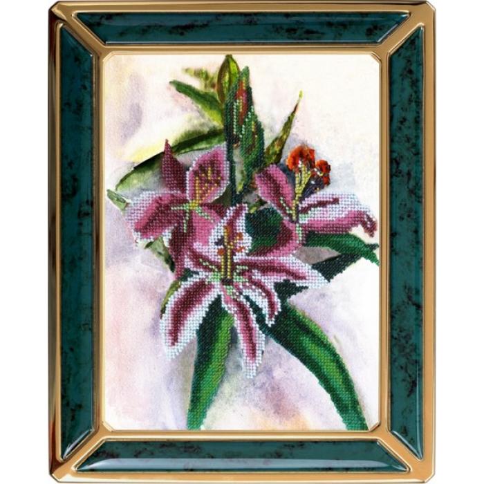 Набор для вышивания ВЫШИВАЛЬНАЯ МОЗАИКА арт. 140ЦВ Акварельные цветы. Лилии 19х26см