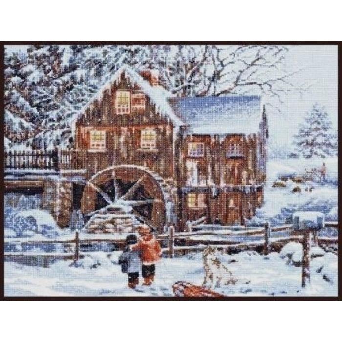 Набор для вышивания ПАЛИТРА арт.07.013 Мельница в снегу 40х31 см