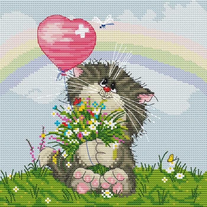 Набор для вышивания нитками БЕЛОСНЕЖКА арт.БЛ.117-14 Кот с букетом 27х27см