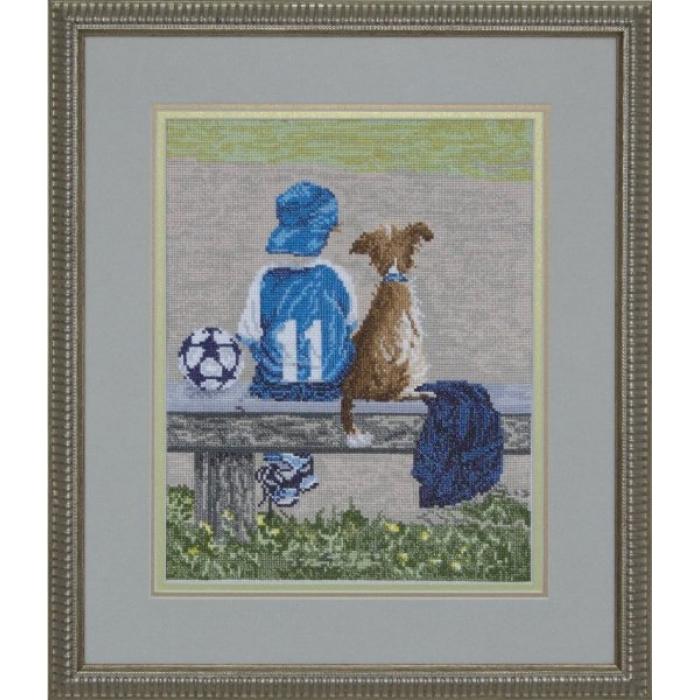 Набор для вышивания мулине КРАСА И ТВОРЧЕСТВО арт.40410 Вратарь 23,81х30,9 см