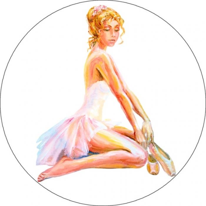 Вышивка крестиком ЦВЕТНОЙ арт.VC04 Сидящая балерина 21х21 см