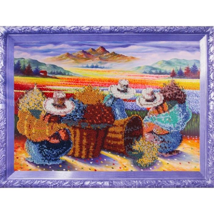 Набор для вышивания бисером КОЛОР КИТ арт.КК.VS011 Цветочницы 30х40 см
