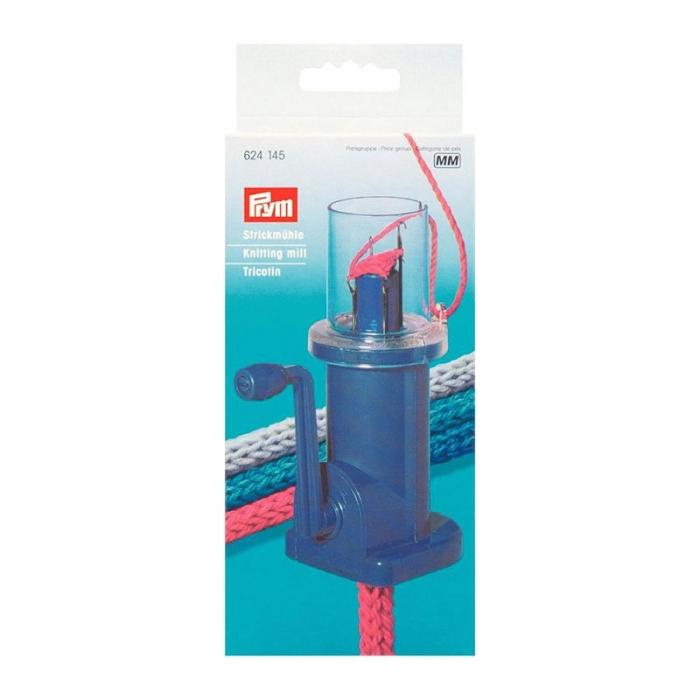 624145 PRYM Машинка д/плетения шнуров полуавтоматическая пластик цв. синий уп.1шт