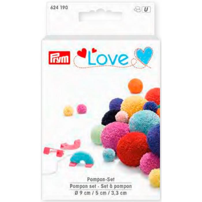 624190 PRYM Love - Набор устройств для изготовления помпонов, ?9см/5см/3,3см, пластик, бирюзовый/ярк.розовый/синий