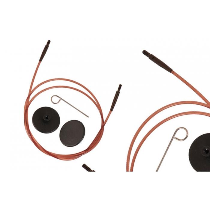 31291 Knit Pro Тросик (заглушки 2шт, ключик) для съемных укороченных спиц Ginger, длина 20см (готовая длина спиц 40см), коричневый