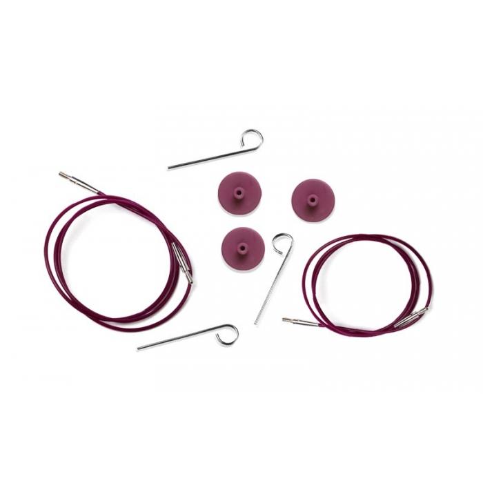 10501 Knit Pro Тросик (заглушки 2шт, ключик) для съемных спиц, длина 35 (готовая длина спиц 60)см, фиолетовый