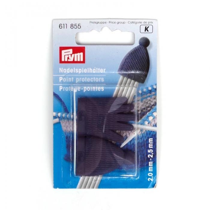 611855 PRYM Колпачек-держатель для чулочных спиц пластик, р-р спиц №2,0-2,5мм цв.синий уп.2шт