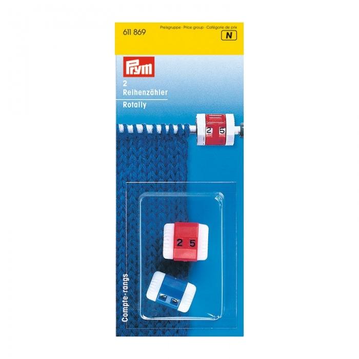 611869 PRYM Счетчик рядов пластиковый р-р малый и большой цв. синий/белый, красный/белый