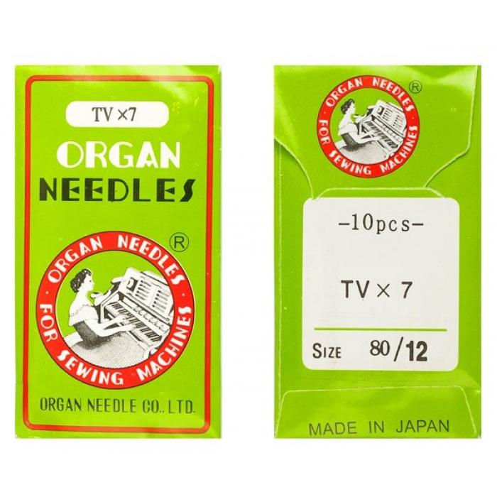 Иглы ORGAN арт.TVx7 № 80/12 набор.10 игл.ПШМ/1-2-иг,2-4х ниточные двойного цепного стежка(джинс.и спец.