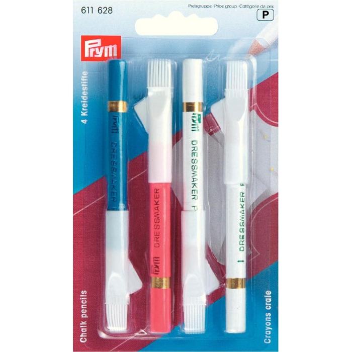 611628 PRYM Меловые карандаши со стирающей кисточкой, разноцветные