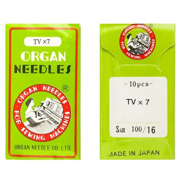 Иглы ORGAN арт.TVx7 № 100/16 набор.10 игл.ПШМ/1-2-иг,2-4х ниточные двойного цепного стежка(джинс и спец.