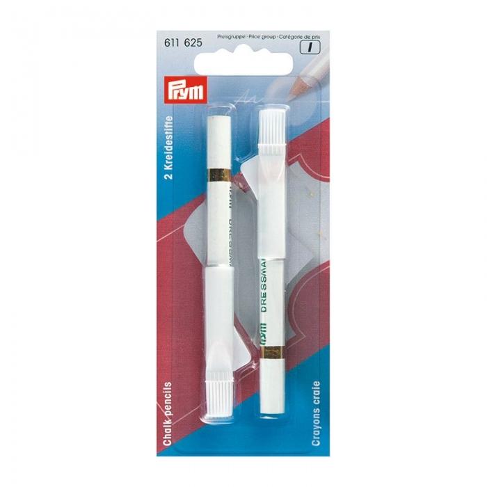611625 PRYM Меловые карандаши со стирающей кисточкой, белые