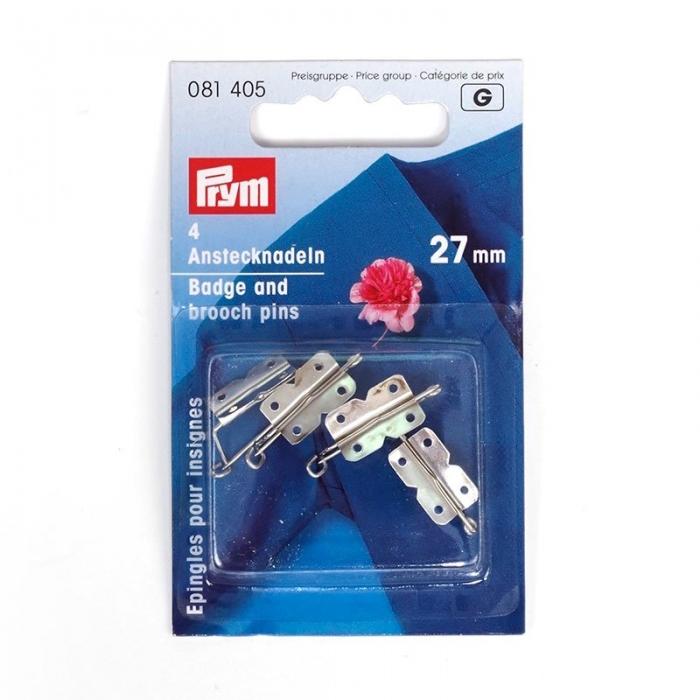 81405 PRYM Булавки для бантов и значков 27мм пришивные, цв. серебристый уп.4шт