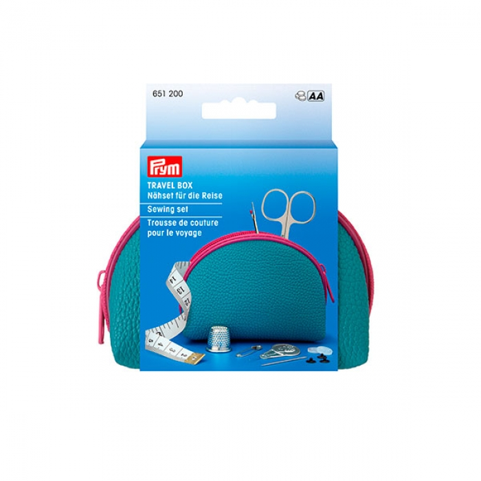 651200 PRYM Набор для шитья, для путешествий: бокс12х7,5х4,5см искуственная кожа, синий/ярко-розовый