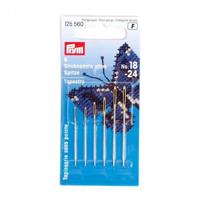 125560 PRYM Иглы ручные д/вышивки со скругленным острием №18-24 уп.6шт