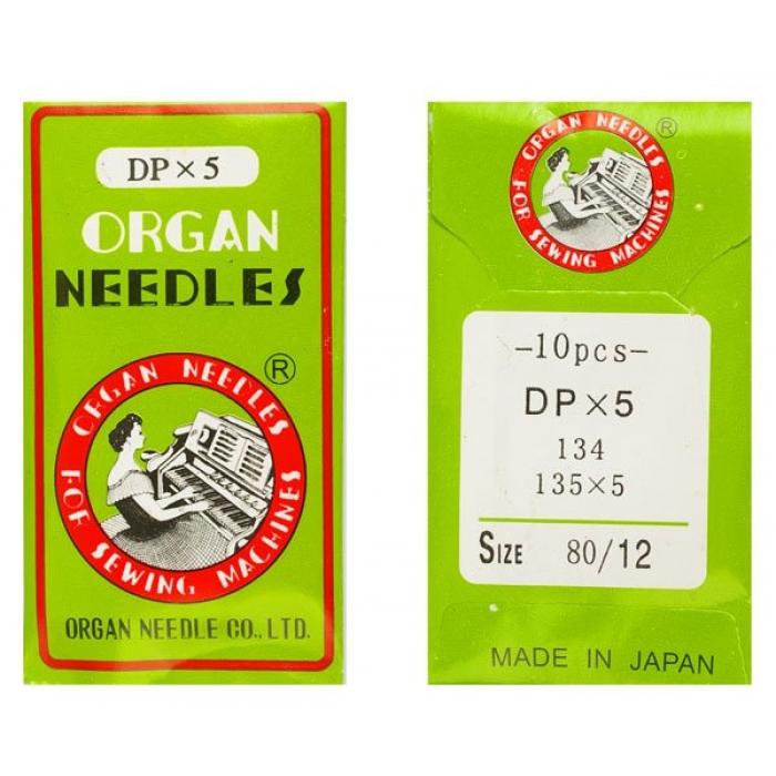 Иглы ORGAN арт.DPx5 № 80/12 набор.10 игл./для 1-игольн.ПШМ челн. стежка 2-иг.выс-скор.легк.тк.(стачиван