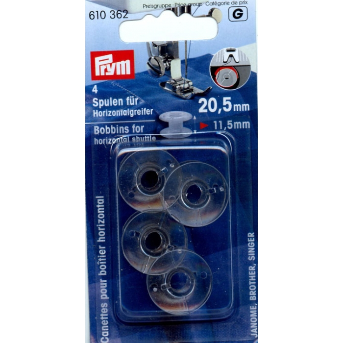 610362 PRYM Шпульки пластик для горизонтально вращающегося челнока 20,5 прозрачный