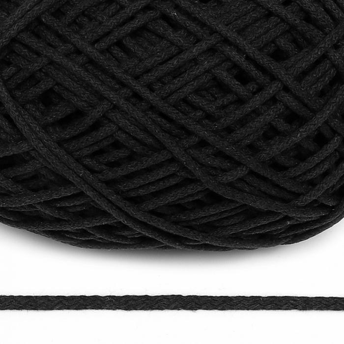 Шнур для макраме круглый х/б 06мм 60184/200 цв.черный уп.200м