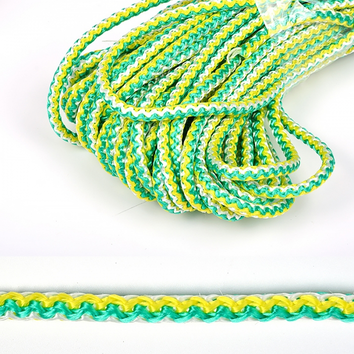 Шнур круглый полипропилен 06мм цв.зелено-желто-белый уп.20м