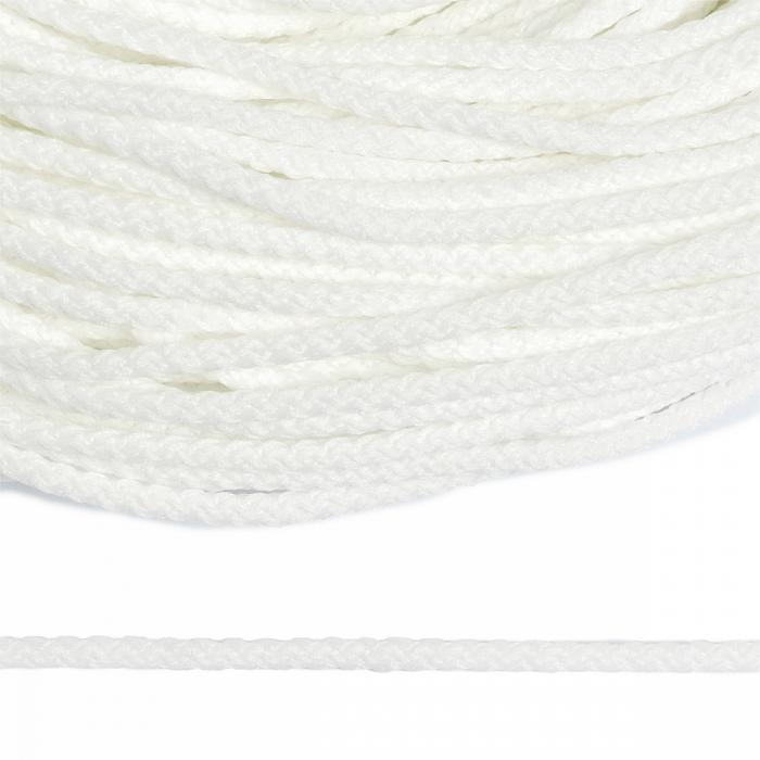 Шнур круглый полиэфир 03мм арт.1с-31 с наполнителем цв.001 белый уп.200м