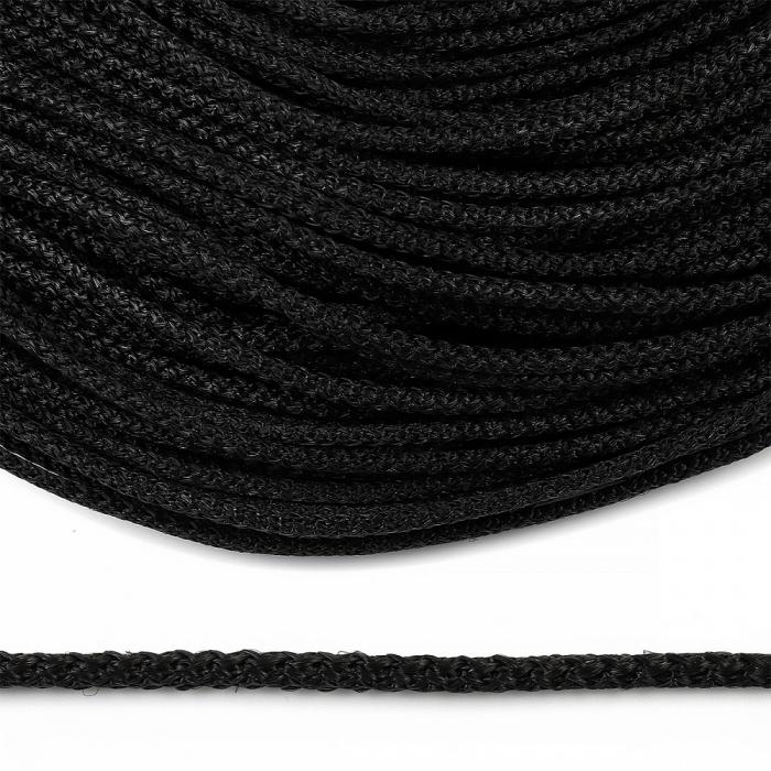 Шнур круглый полипропилен 04мм цв.черный уп.100м