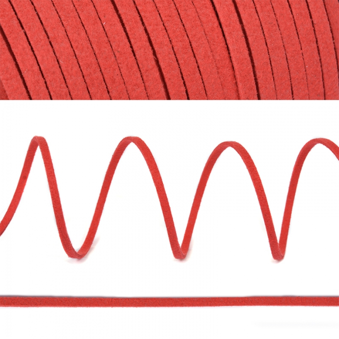 Шнур/тесьма (иск.замша) TBY.SLR162 2-3мм цв.красный F162 уп.50м