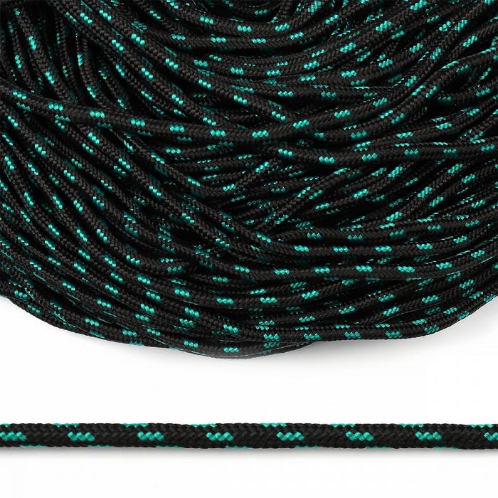 Шнур круглый полипропилен 05мм арт. 1с-5 плетёный цв.черно/зеленый уп.100м