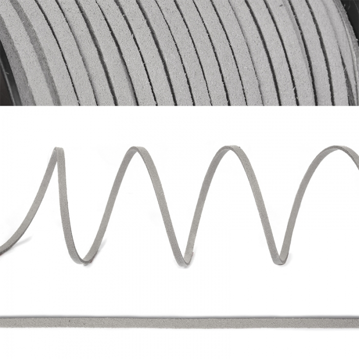 Шнур/тесьма (иск.замша) TBY.SLR310 2-3мм цв.св.серый F310 уп.50м