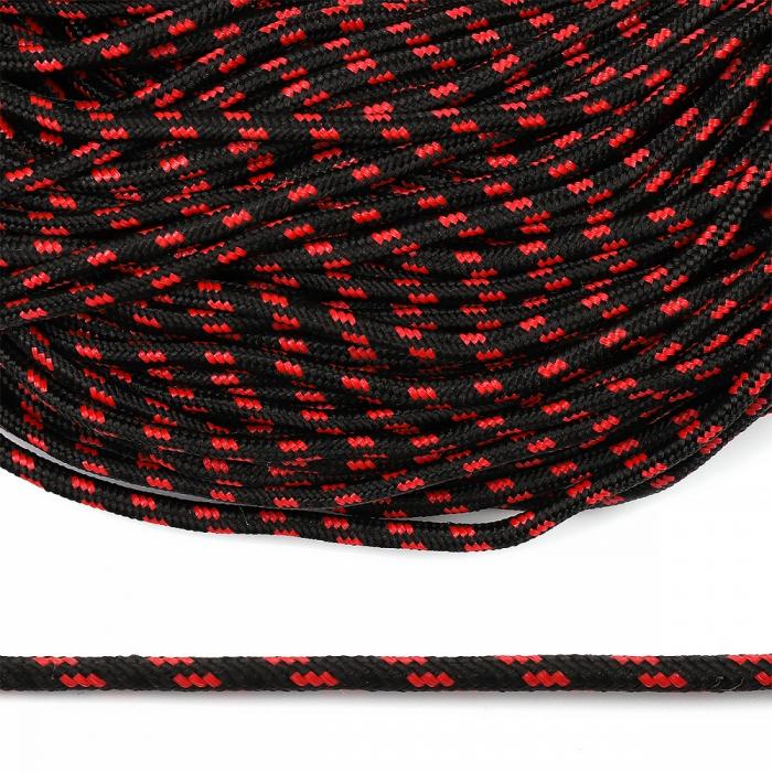 Шнур круглый полипропилен 05мм арт. 1с-5 плетёный цв.черно/красный уп.100м