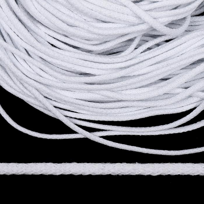Шнур круглый х/б 05мм с наполнителем цв.001 белый уп.100 м