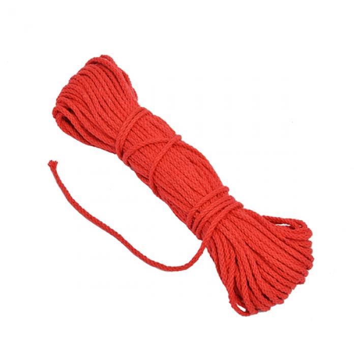Шнур круглый х/б 03мм С3098г17 рис.7092ц цв.красный уп.2х20м