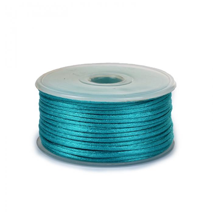 Шнур TBY атласный круглый 2мм цв.3154 сине-зеленый уп.50м