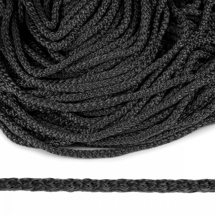 Шнур полипропилен пп6 для люверсов пикколо 6мм цв.т.серый уп.100м