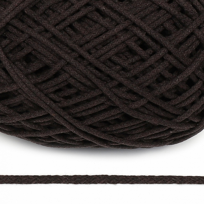 Шнур для макраме круглый х/б 06мм 60184/200 цв.т.коричневый уп.200м
