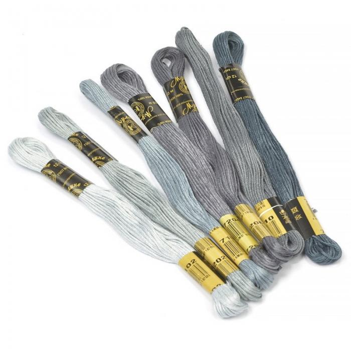 Нитки мулине Цветик-семицветик 10м арт. ПНК набор 7 мотков №8-серый лепесток