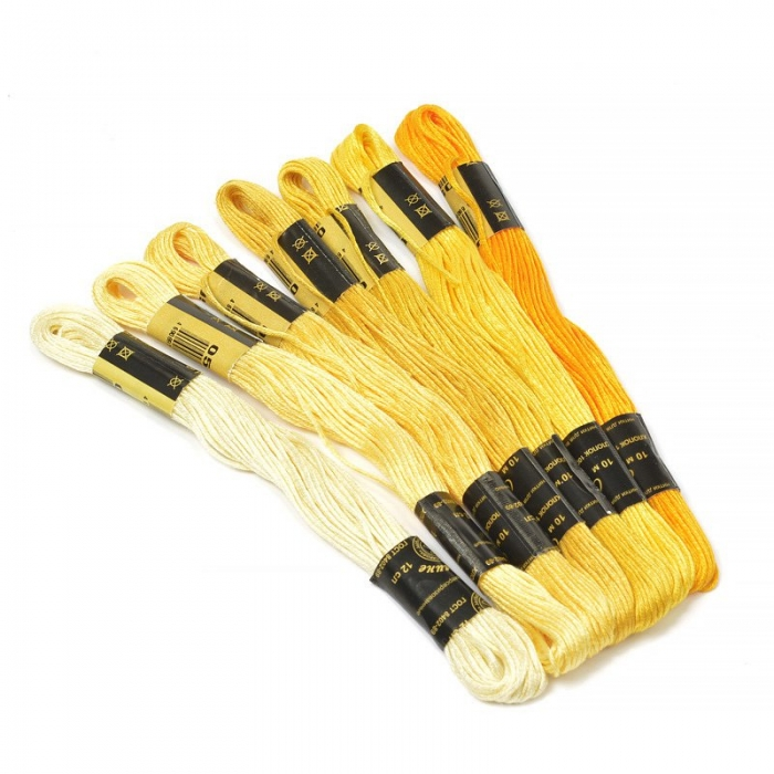 Нитки мулине Цветик-семицветик 10м арт. ПНК набор 7 мотков №1-желтый лепесток