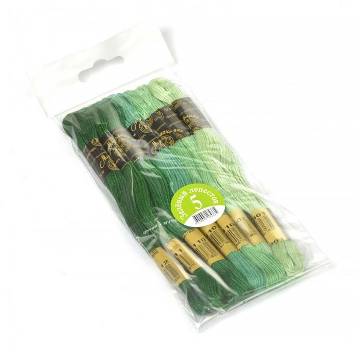 Нитки мулине Цветик-семицветик 10м арт. ПНК набор 7 мотков №5-зеленый лепесток
