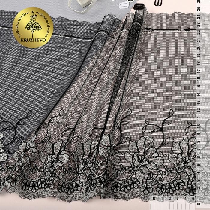 Кружево вышивка на сетке KRUZHEVO арт.TBY.FJ8 шир.245мм цв.черный, левая уп.13,7м