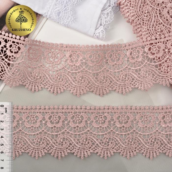 Кружево гипюр KRUZHEVO арт.TR 8GB014 шир.65мм цв.17 розовый уп.9м