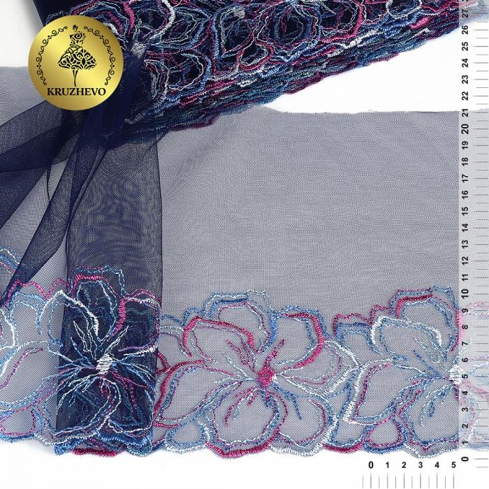 Кружево вышивка на сетке KRUZHEVO арт.TBY.C35 шир.210мм цв.темно-синий, правая уп.9м